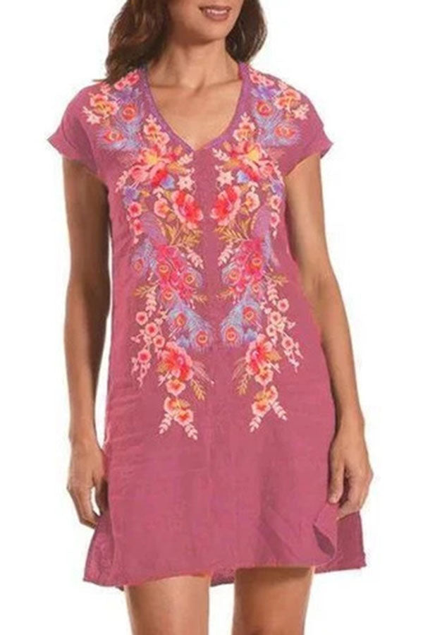 Floral Embroidery Vintage V-neck Short Sleeves Mini Dress