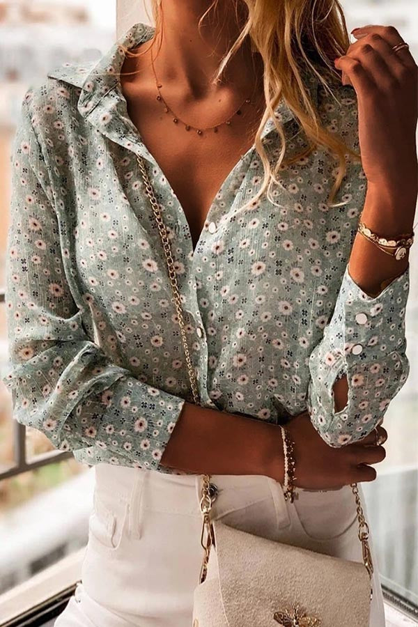 Floral Print See-through Look Buttons Down Casual Blouse