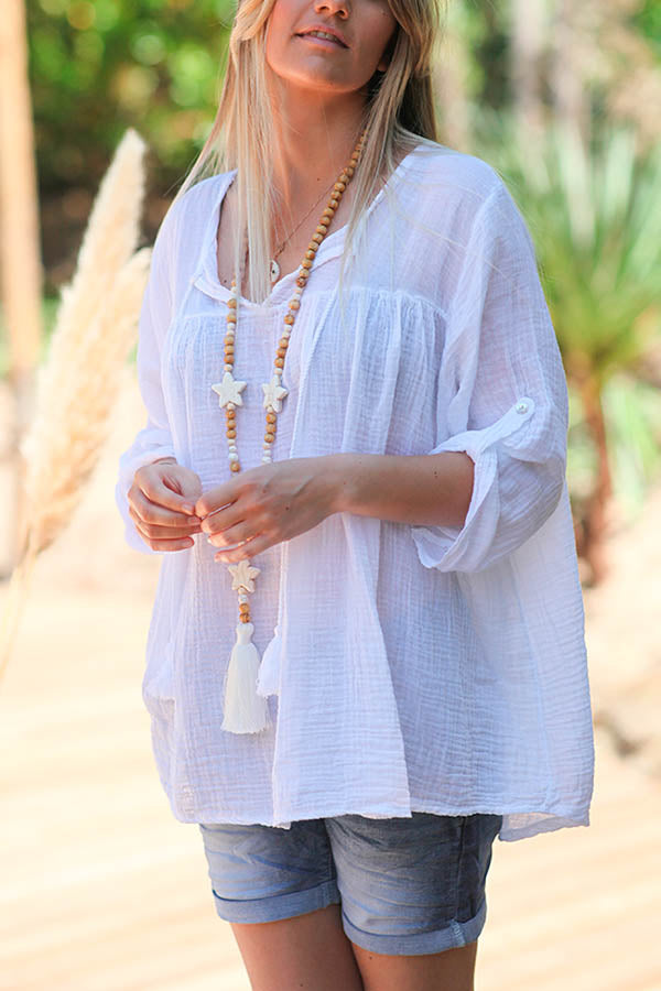 Solid Casual Paneled Drawstring Tassel V-neck Blouse