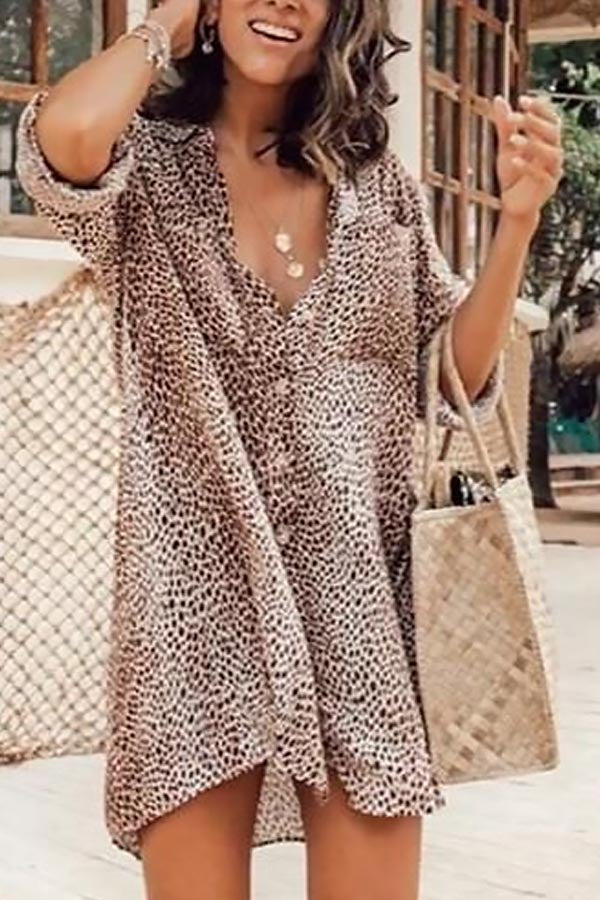 Leopard Print Buttoned Shirt Collar Holiday Mini Dress