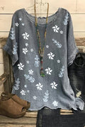 Casual Floral Print Paneled Short Sleeves Blouse