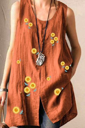 Vintage Sunflower Print Paneled Slit Tank Top