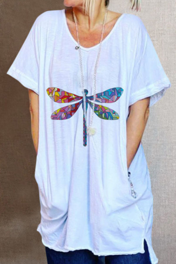 Casual V-neck Dragonfly Print Slit High Low T-shirt