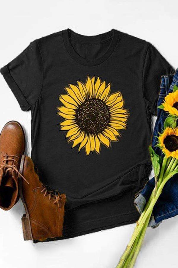 Sunflower Print Paneled Short Sleeves Casual T-shirt