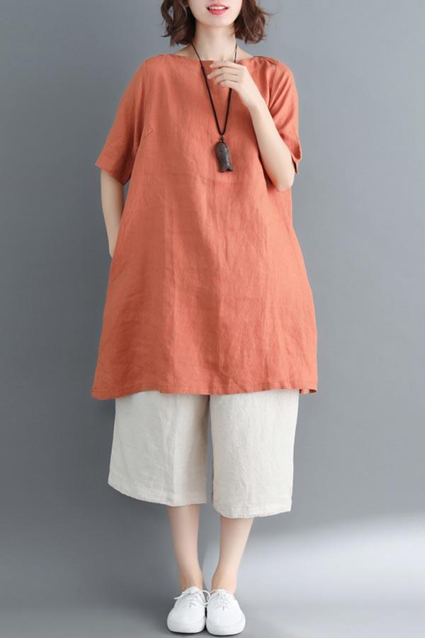 Casual Paneled Half Sleeves Solid Blouse