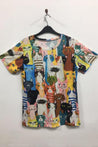 Cartoon Cat Print Vintage Paneled Short Sleeves T-shirt