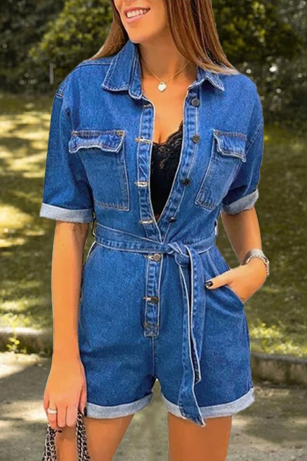 Casual Solid Paneled Buttoned Pockets Self-tie Denim Romper