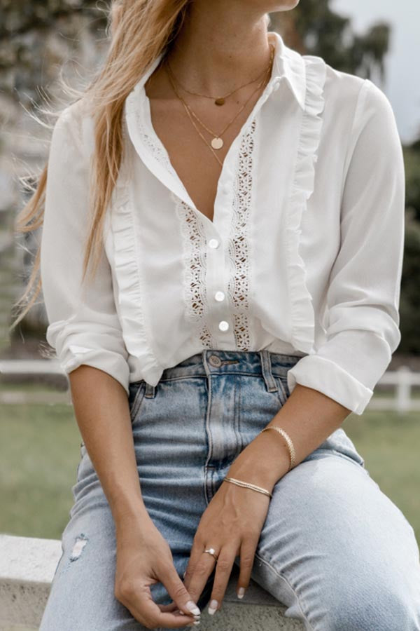 Casual Solid Paneled Lace Ruffled Buttons Down Blouse