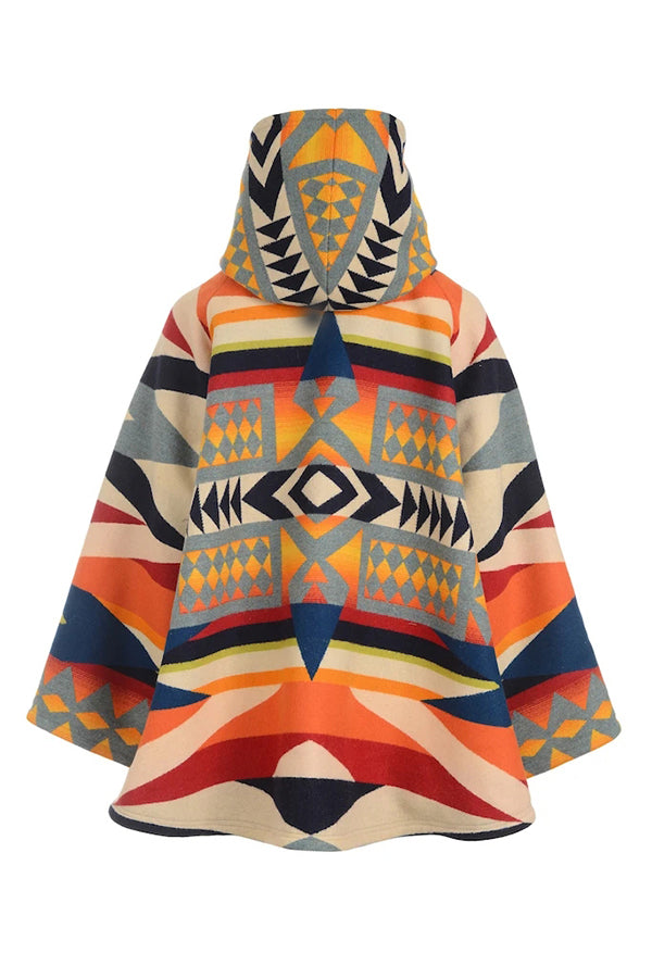 Geometric Jacquard Vintage Horn Buckles Cropped Hooded Coat