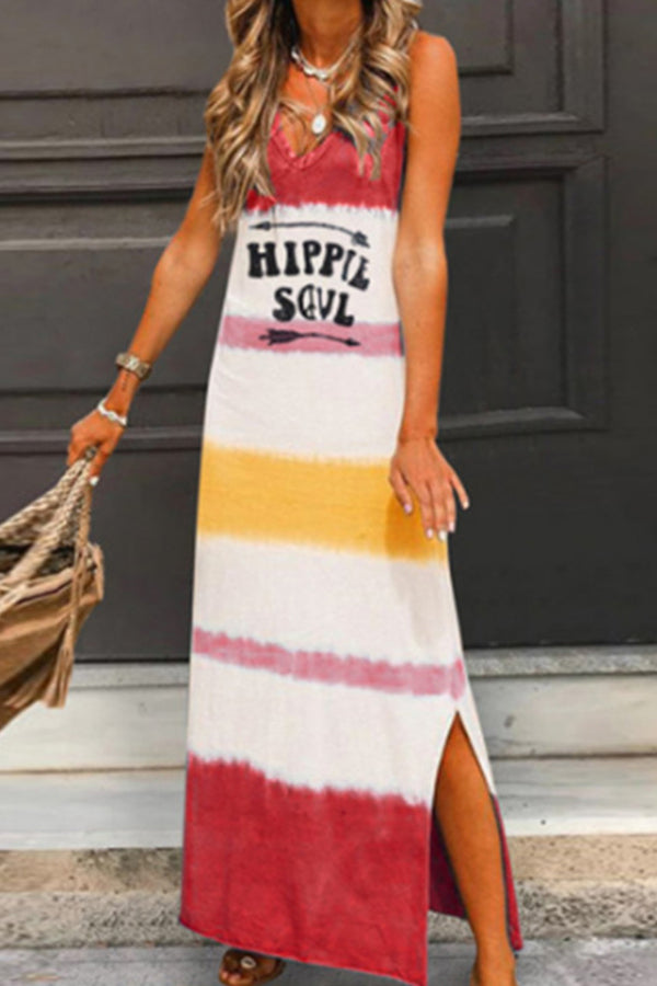 Color-block Letter Print Sleeveless Casual Slit Maxi Dress
