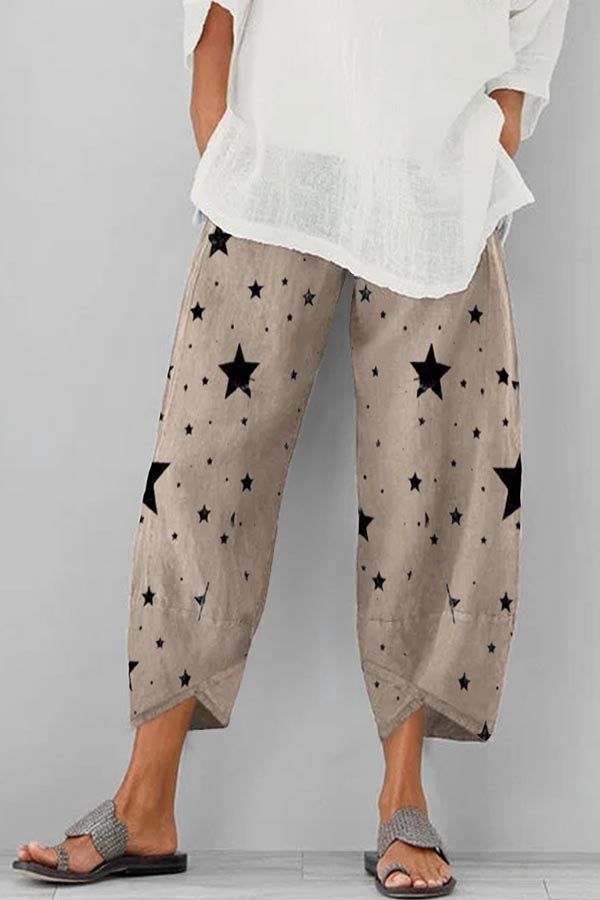 Vintage Star Print Cross Front Hem Wide Leg Pants