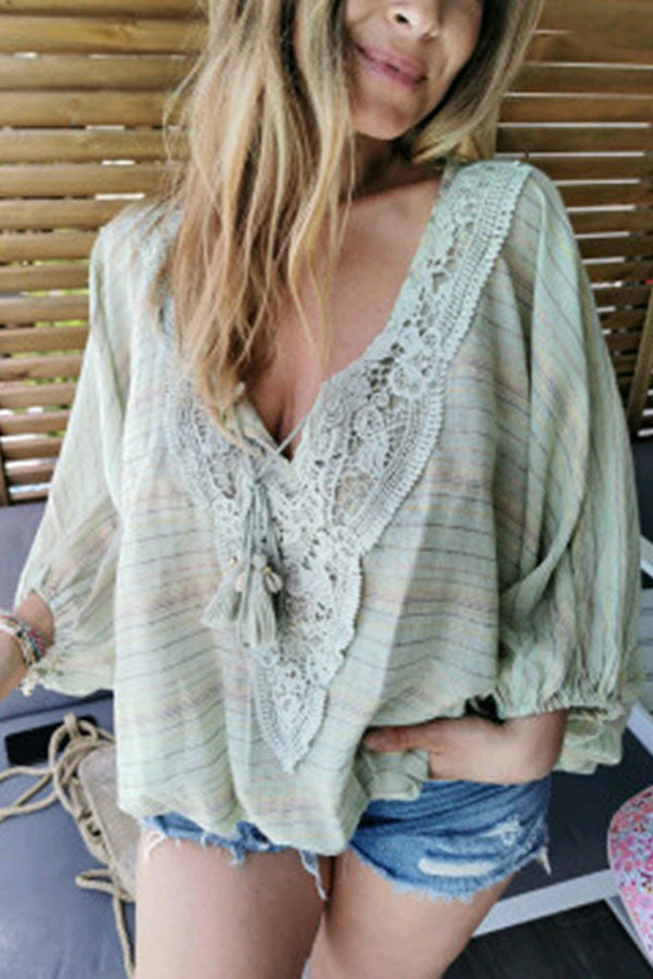 Holiday Striped Print Paneled Lace Plunging Neck Blouse