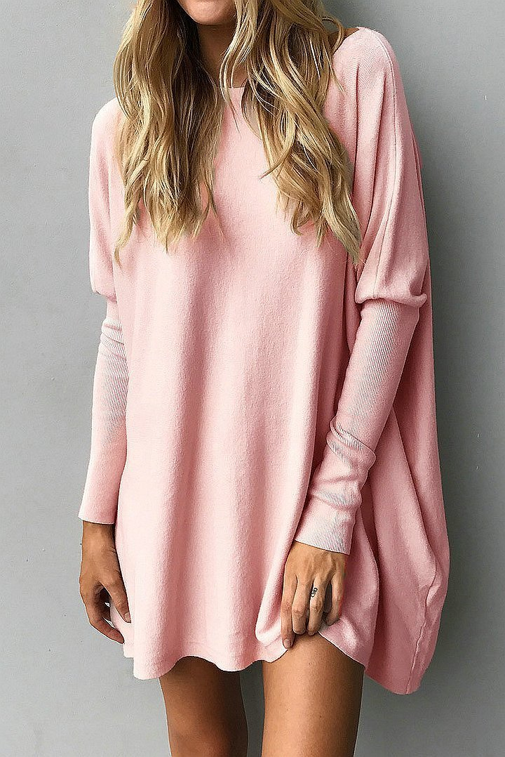 Casual Batwing Sleeve Round Collar T-shirt