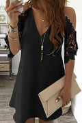 Elegant Solid Paneled Lace V-neck Cold Shoulder Mini Dress