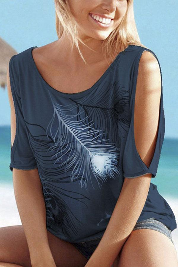 Feather Print Cold Shoulder Casual T-shirts