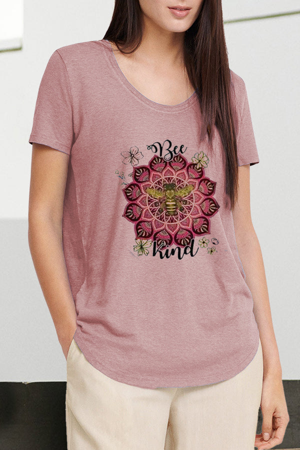 Bee Floral Print Casual Short Sleeves Crew Neck T-shirt