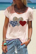 Casual Print Heart Round Neck T Shirt