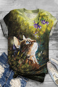 Vintage Cartoon Cat Floral Gradient Print Paneled T-shirt