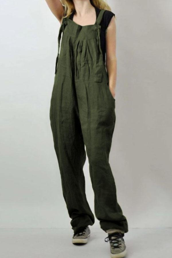 Paneled Solid Casual Pockets Folds Spaghetti Jumpsuit