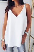 Solid Sling V-neck Backless Sleeveless Casual Blouse