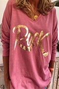 Paneled V-neck Letter Print Casual Long Sleeves T-shirt