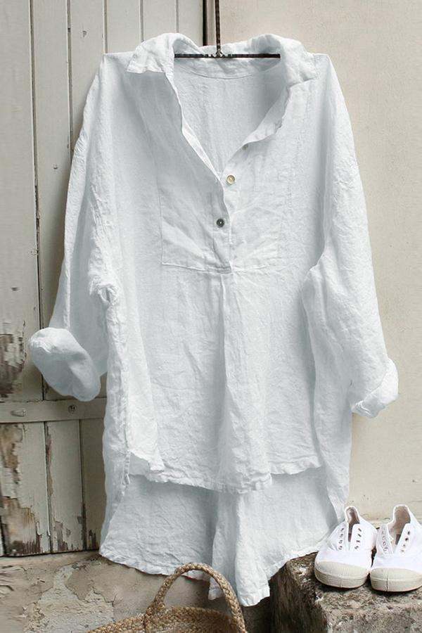 Solid Paneled Buttoned High Low Folds Shirt Collar Casual Blouse