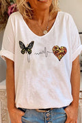 Casual Butterfly Heart Print Paneled V-neck T-shirt