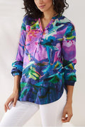 Abstract Gradient Print Paneled Buttoned V-neck Vintage Blouse