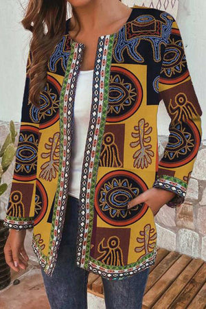 Vintage Graphic Print Paneled Color-block Pockets Coat