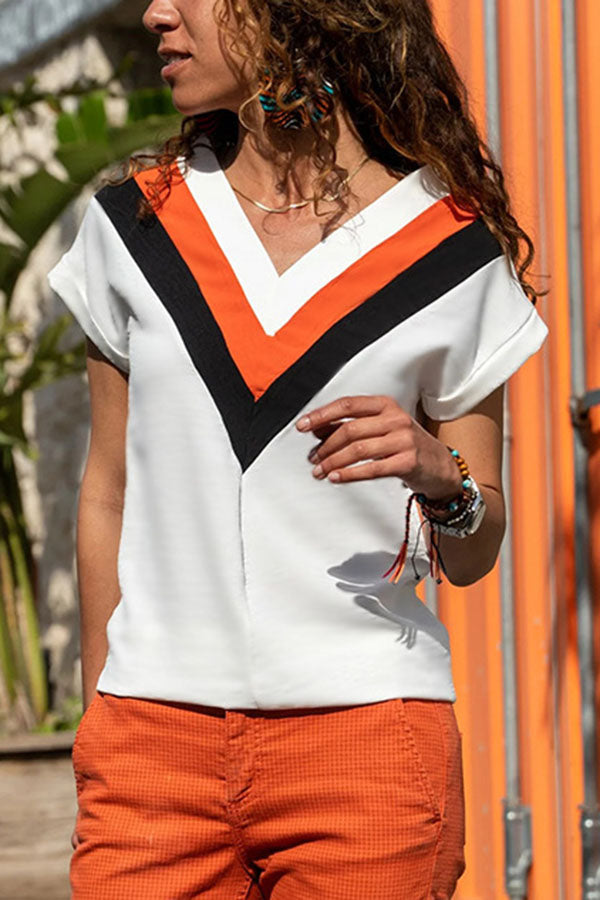 Striped Paneled Color-block V-neck Casual Blouse
