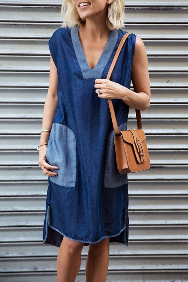 Color-block Solid Casual V-neck High Low Pockets Midi Dress