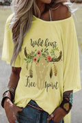 Graphic Print Short Sleeves Crew Neck Casual T-shirt