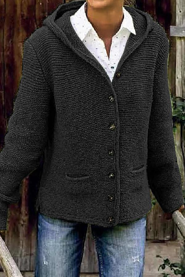 Casual Solid Buttons Down Side Pockets Cardigans