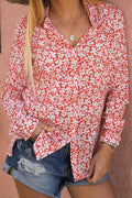 Floral Print Buttons Down Slit Casual Shirt