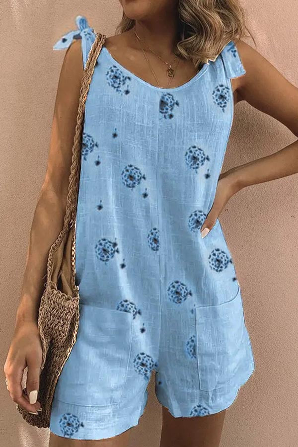 Holiday Dandelion Print Tie Sleeveless Paneled Pockets Romper