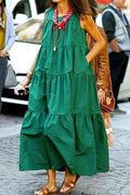 Sleeveless Solid Paneled Side Pockets Holiday Maxi Dress