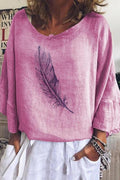 Feather Print 3/4 Frill Sleeve Casual Paneled Blouse