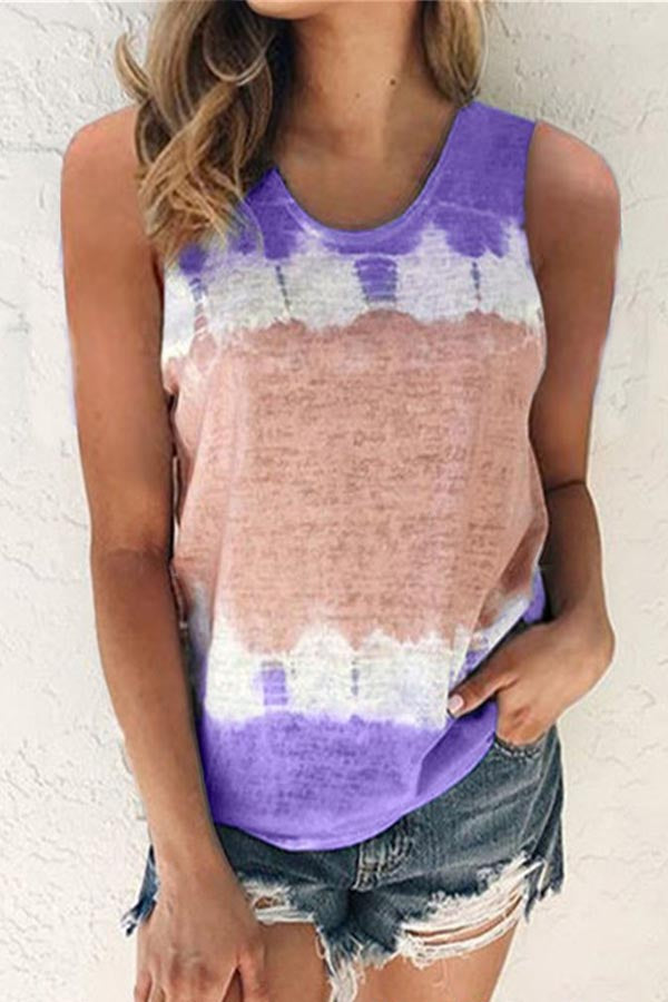 Sleeveless Paneled Gradient Print Casual T-shirt