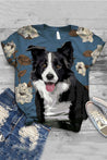 Floral Cartoon Dog Print Paneled Crew Neck T-shirt