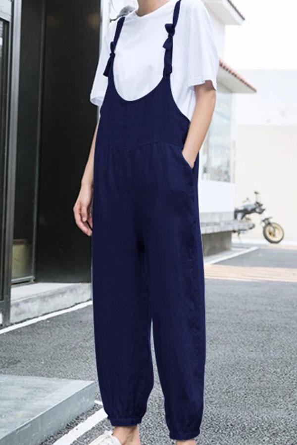 Solid Casual Paneled Pockets Foot-binding Jumpsuit