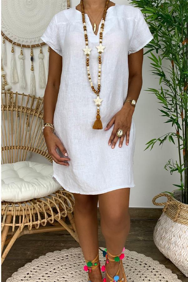 Casual Short Sleeves Solid Linen Dress