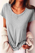 Casual Paneled Solid Short Sleeves Crew Neck T-shirt