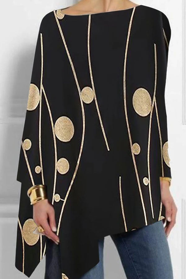 Polka Dots Print Irregular Hem Casual Long Sleeves Blouse
