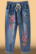Floral Embroidery Self-tie Paneled Pockets Cutout Vintage Jeans
