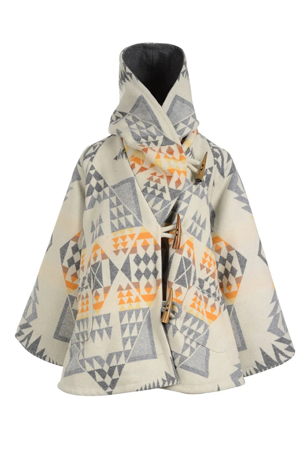 Geometric Jacquard Horn Buckles Holiday Hooded Cropped Coat