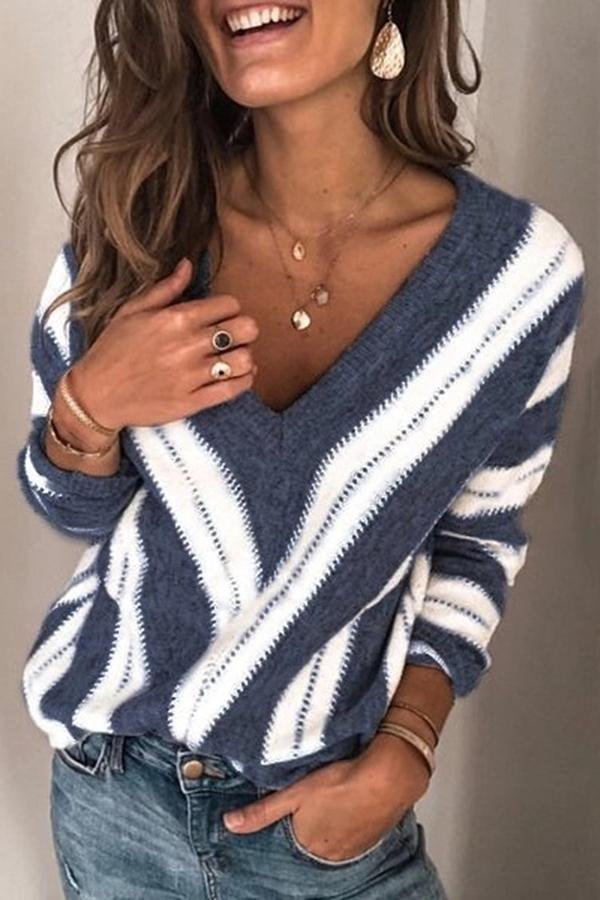 Casual Striped V Neck Long Sleeve Knitted Sweater