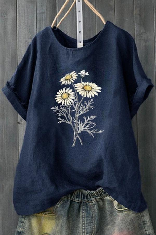 Daisy Print Paneled Short Sleeves Casual T-shirt