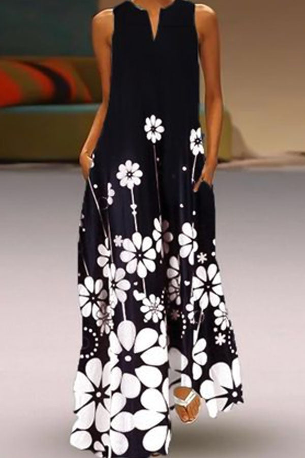 Floral Print V-neck Sleeveless Holiday Maxi Dress