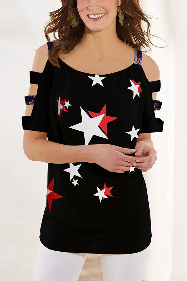 Cold Shoulder Paneled Sequin Star Print Casual Blouse