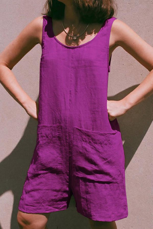 Solid Casual Paneled Side Pockets Sleeveless Romper